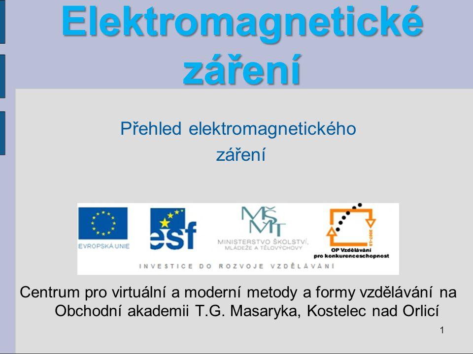 Elektromagnetické záření Přehled elektromagnetického záření Centrum pro virtuální a moderní metody a formy vzdělávání na Obchodní akademii T.G. Masary