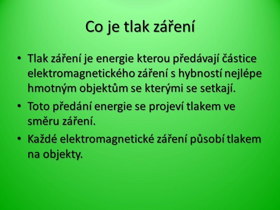 Co je tlak záření Tlak záření je energie kterou předávají částice elektromagnetického záření s hybností nejlépe hmotným objektům se kterými se setkají.