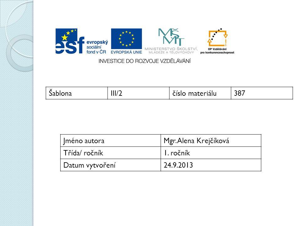 ŠablonaIII/2číslo materiálu387 Jméno autoraMgr. Alena Krejčíková Třída/ ročník1. ročník Datum vytvoření24.9.2013