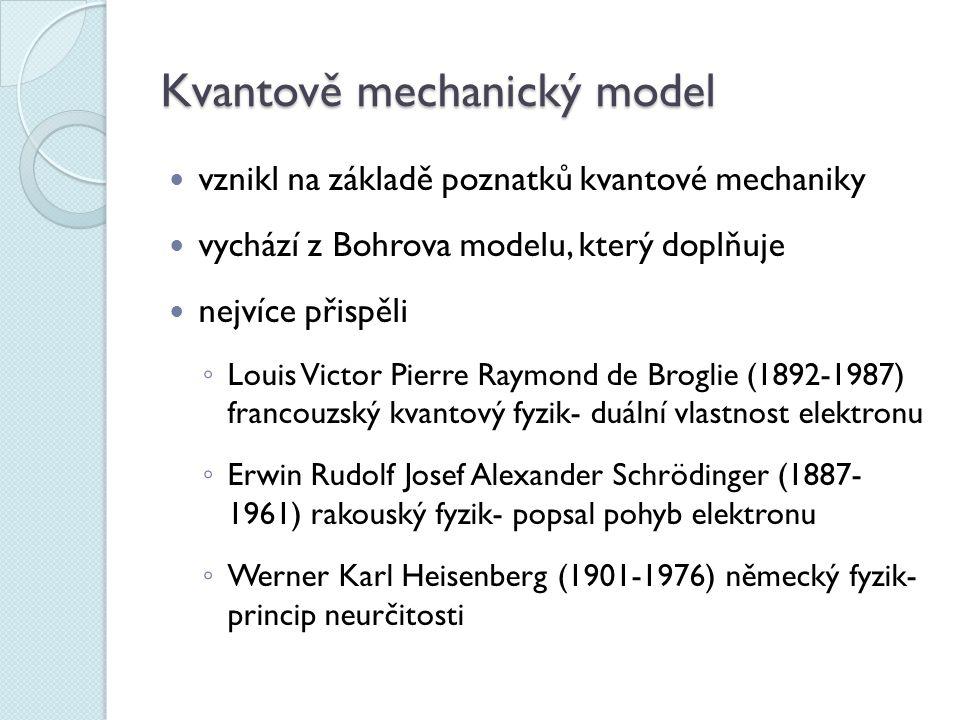 Kvantově mechanický model vznikl na základě poznatků kvantové mechaniky vychází z Bohrova modelu, který doplňuje nejvíce přispěli ◦ Louis Victor Pierre Raymond de Broglie (1892-1987) francouzský kvantový fyzik- duální vlastnost elektronu ◦ Erwin Rudolf Josef Alexander Schrödinger (1887- 1961) rakouský fyzik- popsal pohyb elektronu ◦ Werner Karl Heisenberg (1901-1976) německý fyzik- princip neurčitosti