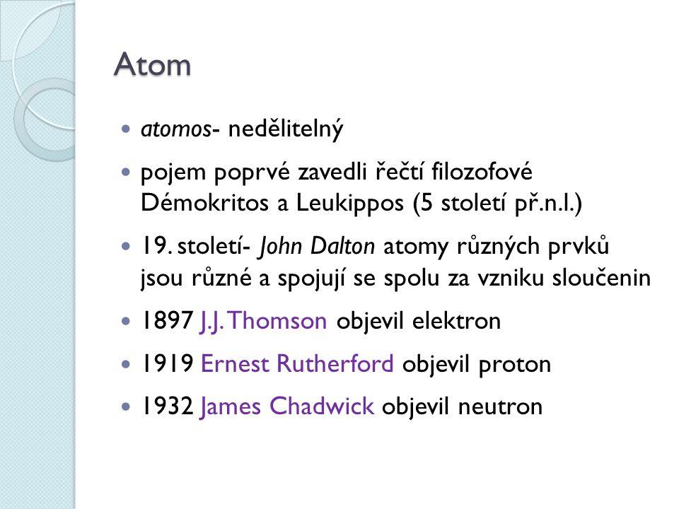 Atom atomos- nedělitelný pojem poprvé zavedli řečtí filozofové Démokritos a Leukippos (5 století př.n.l.) 19. století- John Dalton atomy různých prvků