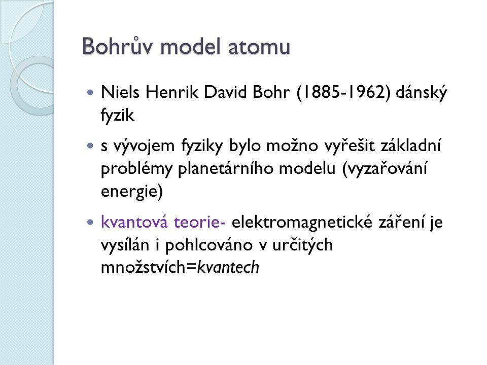 Bohrův model atomu Niels Henrik David Bohr (1885-1962) dánský fyzik s vývojem fyziky bylo možno vyřešit základní problémy planetárního modelu (vyzařování energie) kvantová teorie- elektromagnetické záření je vysílán i pohlcováno v určitých množstvích=kvantech