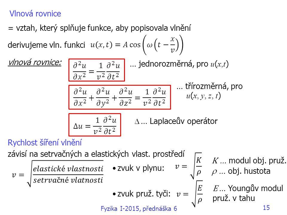 15 Vlnová rovnice = vztah, který splňuje funkce, aby popisovala vlnění derivujeme vln. funkci vlnová rovnice: Rychlost šíření vlnění závisí na setrvač