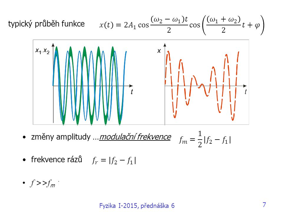 7 typický průběh funkce změny amplitudy …modulační frekvence frekvence rázů f >> f m frekvence kmitu >> modulační frekvence Fyzika I-2015, přednáška 6