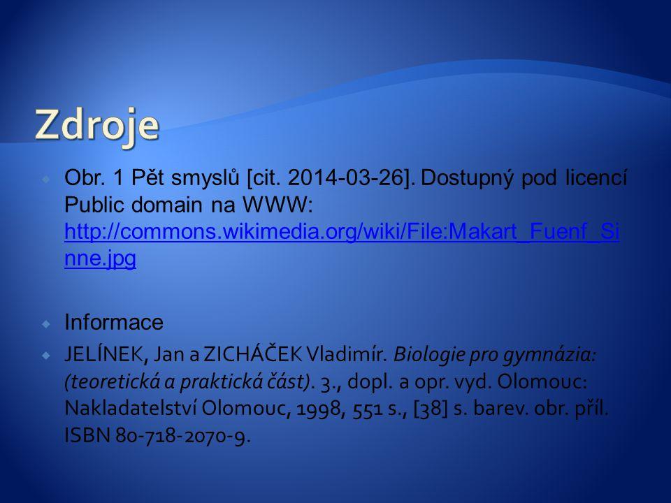  Obr. 1 Pět smyslů [cit. 2014-03-26]. Dostupný pod licencí Public domain na WWW: http://commons.wikimedia.org/wiki/File:Makart_Fuenf_Si nne.jpg http: