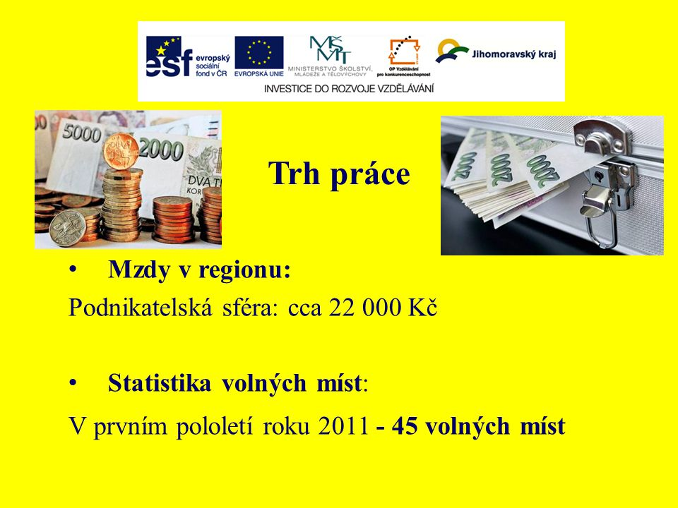 Trh práce Mzdy v regionu: Podnikatelská sféra: cca 22 000 Kč Statistika volných míst: V prvním pololetí roku 2011 - 45 volných míst