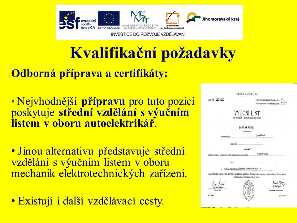 Kvalifikační požadavky Odborná příprava a certifikáty: Nejvhodnější přípravu pro tuto pozici poskytuje střední vzdělání s výučním listem v oboru autoelektrikář.