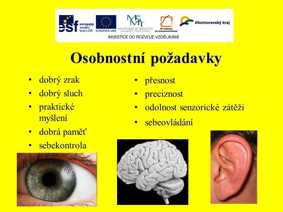 Osobnostní požadavky dobrý zrak dobrý sluch praktické myšlení dobrá paměť sebekontrola přesnost preciznost odolnost senzorické zátěži sebeovládání