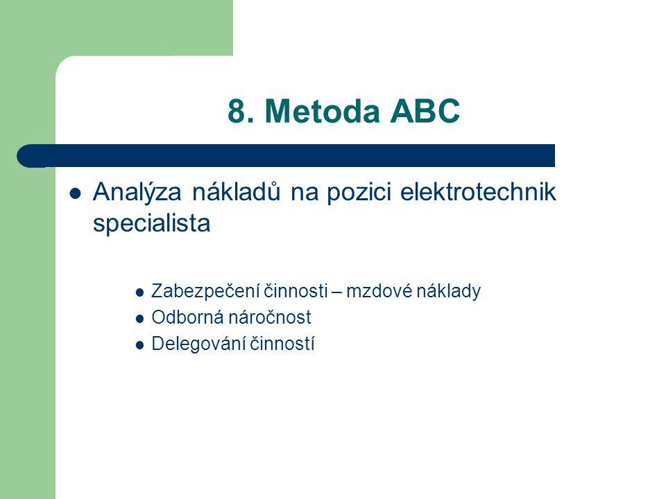 8. Metoda ABC Analýza nákladů na pozici elektrotechnik specialista Zabezpečení činnosti – mzdové náklady Odborná náročnost Delegování činností