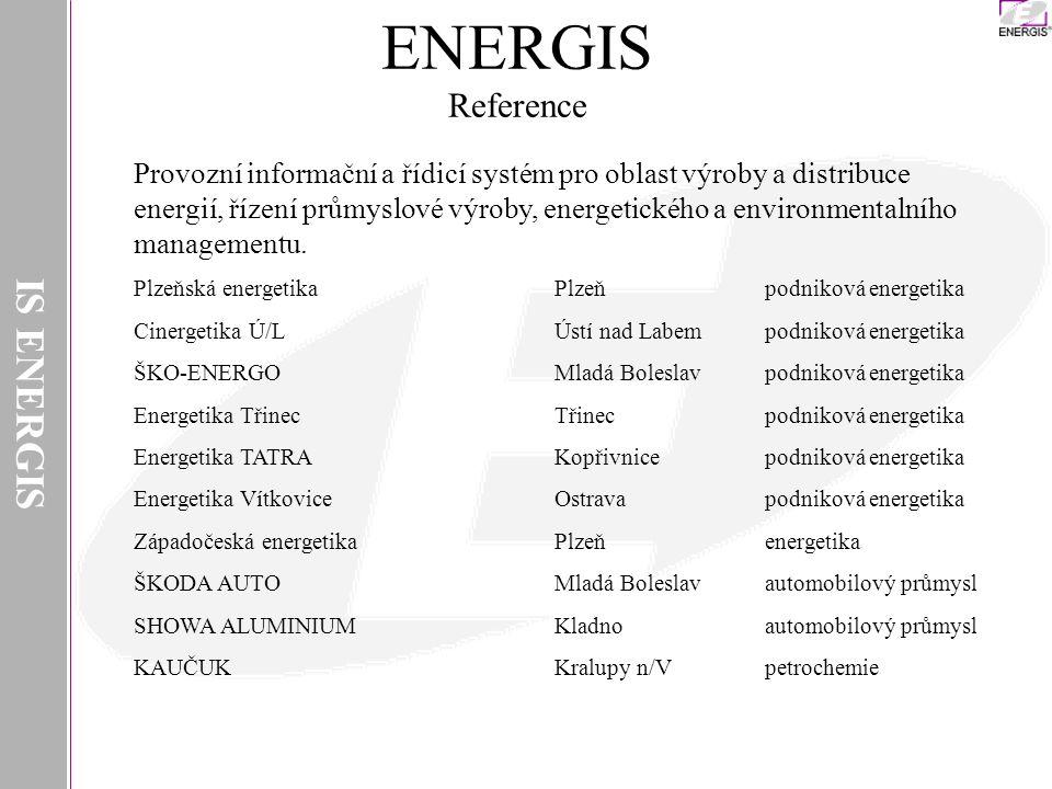 IS ENERGIS Provozní informační a řídicí systém pro oblast výroby a distribuce energií, řízení průmyslové výroby, energetického a environmentalního man