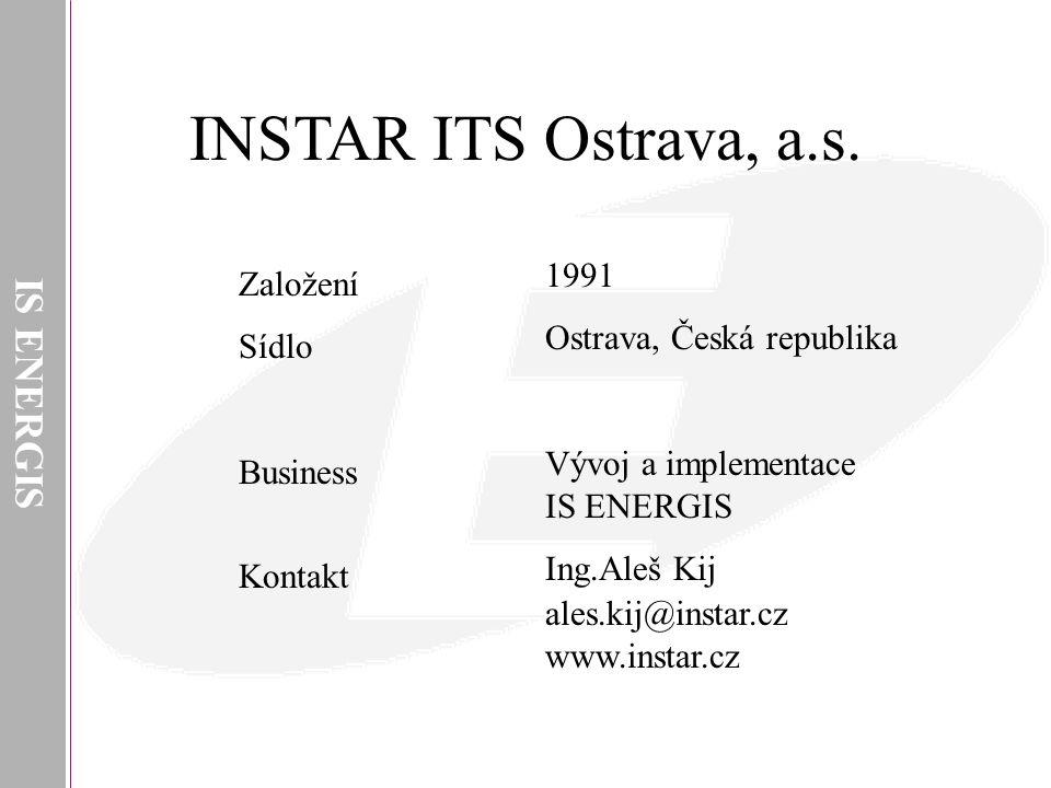 IS ENERGIS INSTAR ITS Ostrava, a.s. 1991 Ostrava, Česká republika Vývoj a implementace IS ENERGIS Ing.Aleš Kij ales.kij@instar.cz www.instar.cz Založe