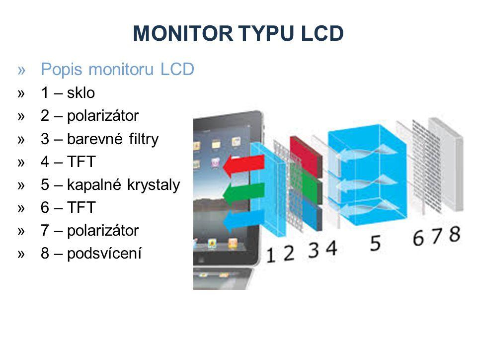 MONITOR TYPU LCD »Popis monitoru LCD »1 – sklo »2 – polarizátor »3 – barevné filtry »4 – TFT »5 – kapalné krystaly »6 – TFT »7 – polarizátor »8 – podsvícení