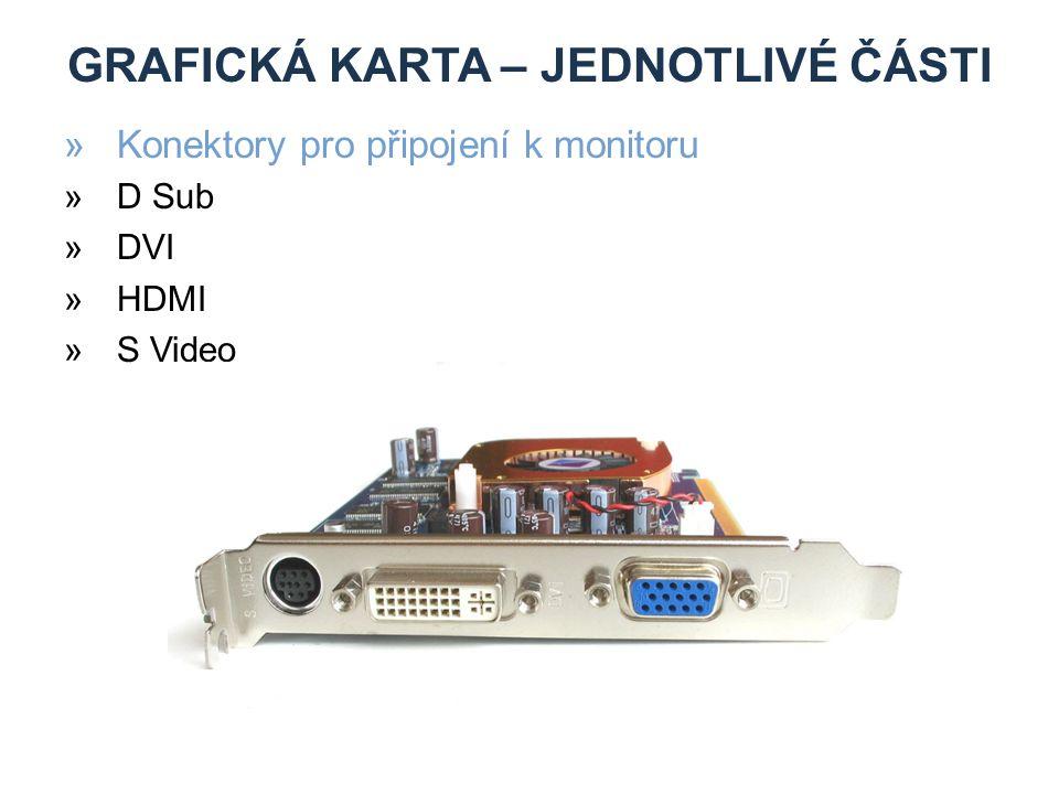 GRAFICKÁ KARTA – JEDNOTLIVÉ ČÁSTI »Konektory pro připojení k monitoru »D Sub »DVI »HDMI »S Video