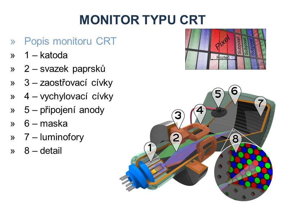 MONITOR TYPU CRT »Popis monitoru CRT »1 – katoda »2 – svazek paprsků »3 – zaostřovací cívky »4 – vychylovací cívky »5 – připojení anody »6 – maska »7 – luminofory »8 – detail