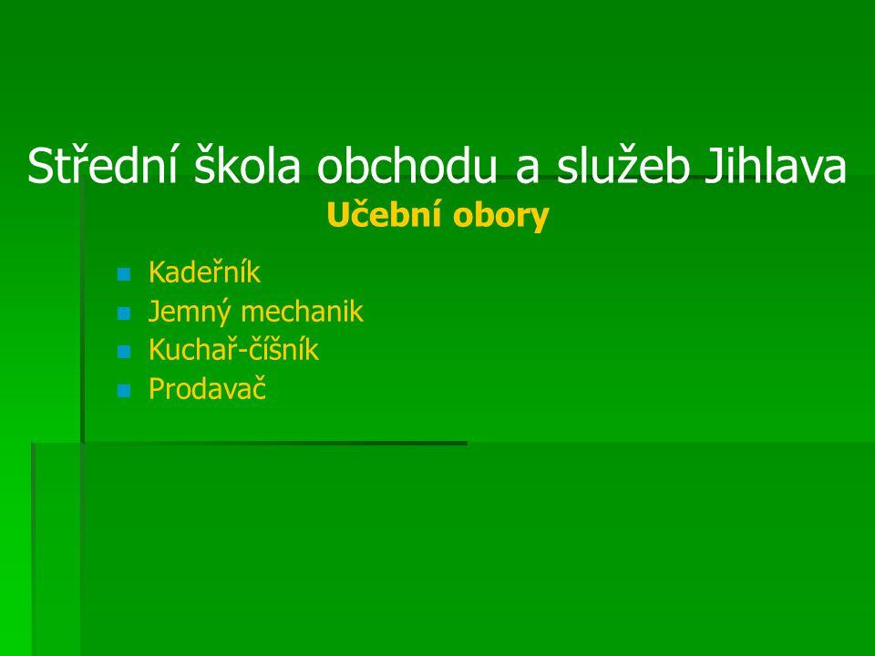 Střední škola obchodu a služeb Jihlava Učební obory Kadeřník Jemný mechanik Kuchař-číšník Prodavač