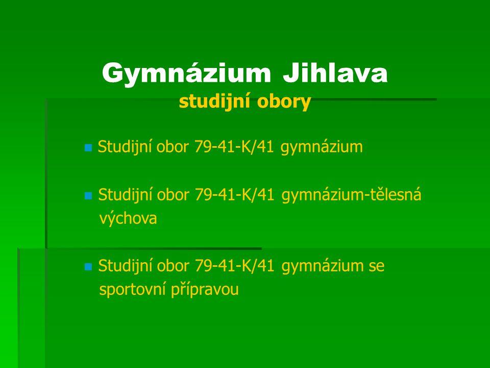 Gymnázium Jihlava přijatí žáci – studijní obory Obor/rok 2007/08 2008/0 9 2009/1 0 4leté1,061,131,06 4leté - tělesná výchova 1,33 4leté sportovní 1,431,181,59