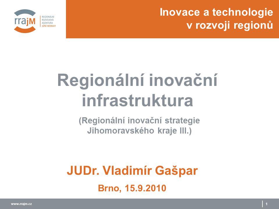 www.rrajm.cz 1 Inovace a technologie v rozvoji regionů (Regionální inovační strategie Jihomoravského kraje III.) JUDr. Vladimír Gašpar Regionální inov