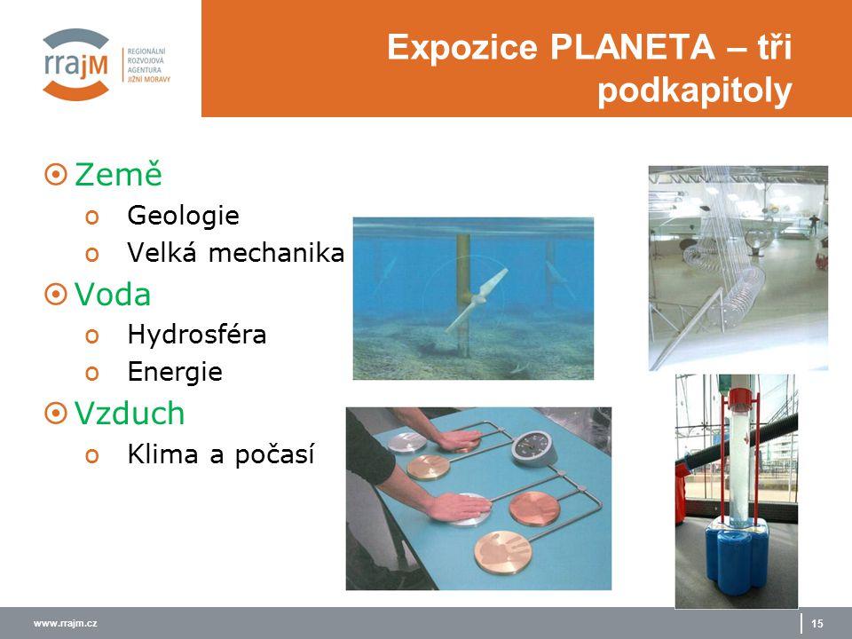 www.rrajm.cz 15 Expozice PLANETA – tři podkapitoly  Země oGeologie oVelká mechanika  Voda oHydrosféra oEnergie  Vzduch oKlima a počasí