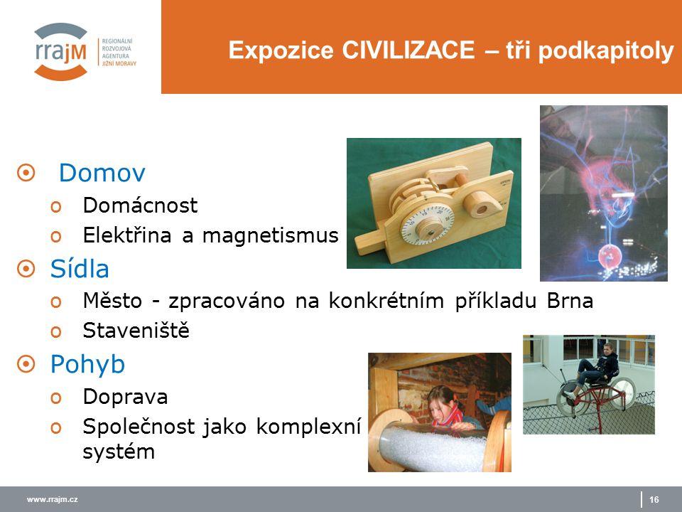 www.rrajm.cz 16 Expozice CIVILIZACE – tři podkapitoly  Domov oDomácnost oElektřina a magnetismus  Sídla oMěsto - zpracováno na konkrétním příkladu B