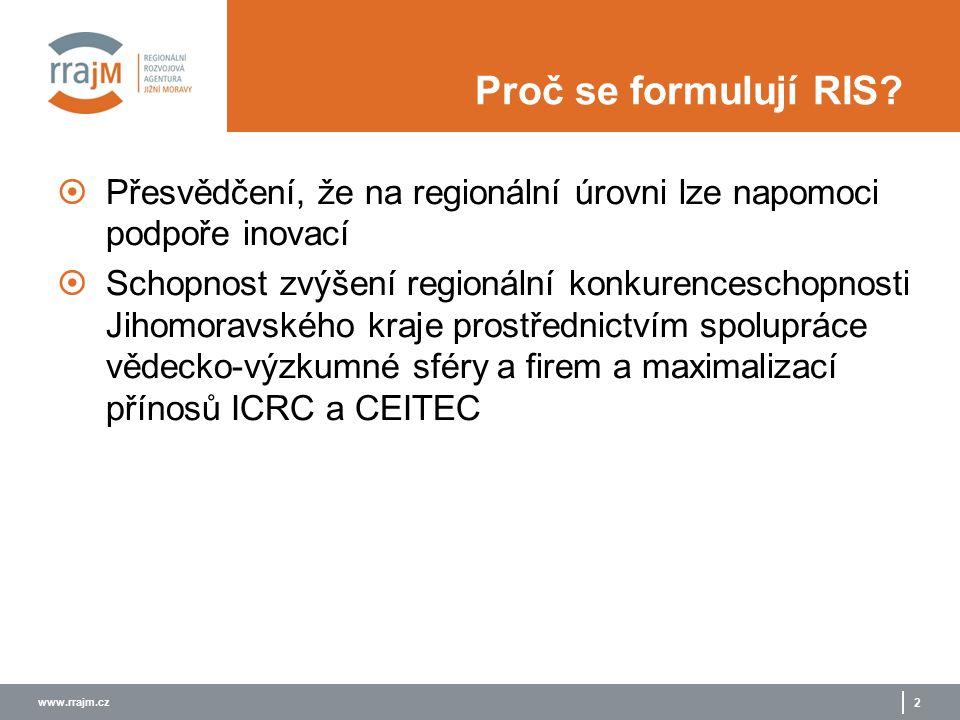 www.rrajm.cz 2 Proč se formulují RIS?  Přesvědčení, že na regionální úrovni lze napomoci podpoře inovací  Schopnost zvýšení regionální konkurencesch