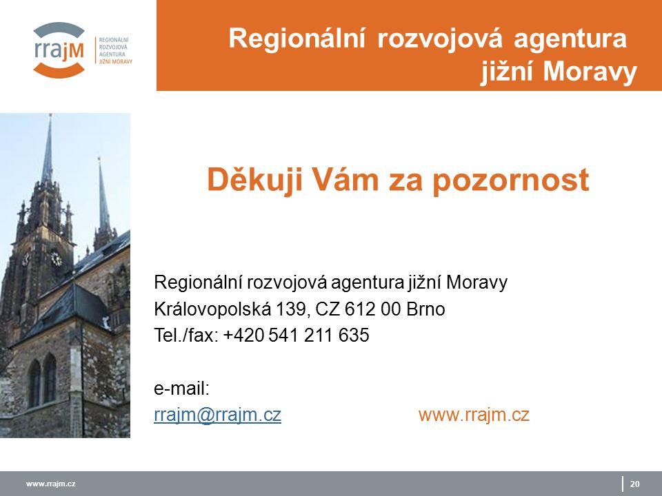 www.rrajm.cz 20 Děkuji Vám za pozornost Regionální rozvojová agentura jižní Moravy Královopolská 139, CZ 612 00 Brno Tel./fax: +420 541 211 635 e-mail: rrajm@rrajm.czrrajm@rrajm.czwww.rrajm.cz Regionální rozvojová agentura jižní Moravy