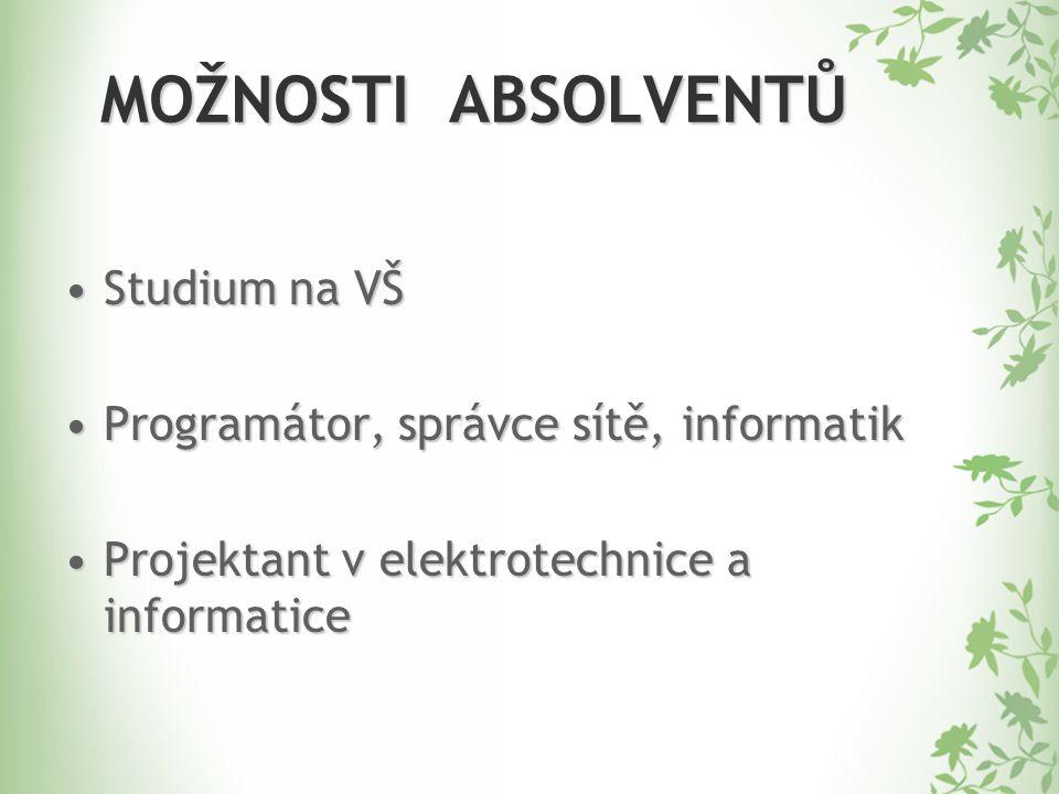 MOŽNOSTI ABSOLVENTŮ Studium na VŠStudium na VŠ Programátor, správce sítě, informatikProgramátor, správce sítě, informatik Projektant v elektrotechnice a informaticeProjektant v elektrotechnice a informatice