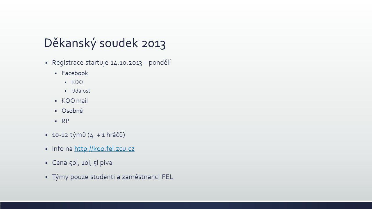 Děkanský soudek 2013  Registrace startuje 14.10.2013 – pondělí  Facebook  KOO  Událost  KOO mail  Osobně  RP  10-12 týmů (4 + 1 hráčů)  Info