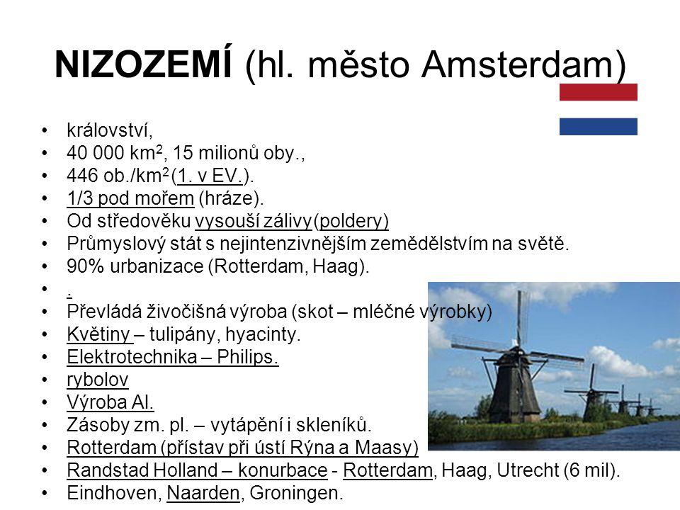 NIZOZEMÍ (hl. město Amsterdam) království, 40 000 km 2, 15 milionů oby., 446 ob./km 2 (1. v EV.). 1/3 pod mořem (hráze). Od středověku vysouší zálivy(