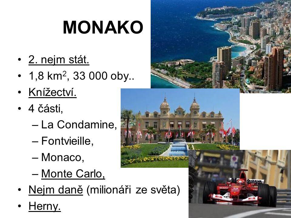 MONAKO 2. nejm stát. 1,8 km 2, 33 000 oby.. Knížectví. 4 části, –La Condamine, –Fontvieille, –Monaco, –Monte Carlo, Nejm daně (milionáři ze světa) Her