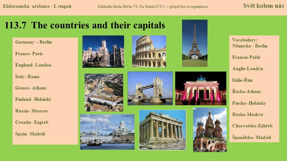 113.7 The countries and their capitals Elektronická učebnice - I.