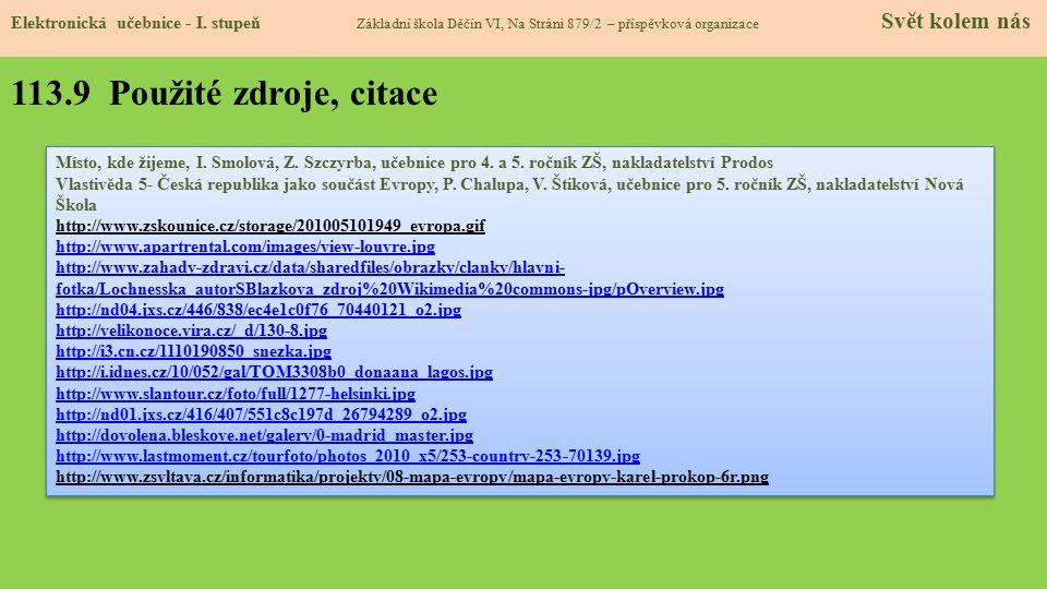 113.9 Použité zdroje, citace Elektronická učebnice - I.