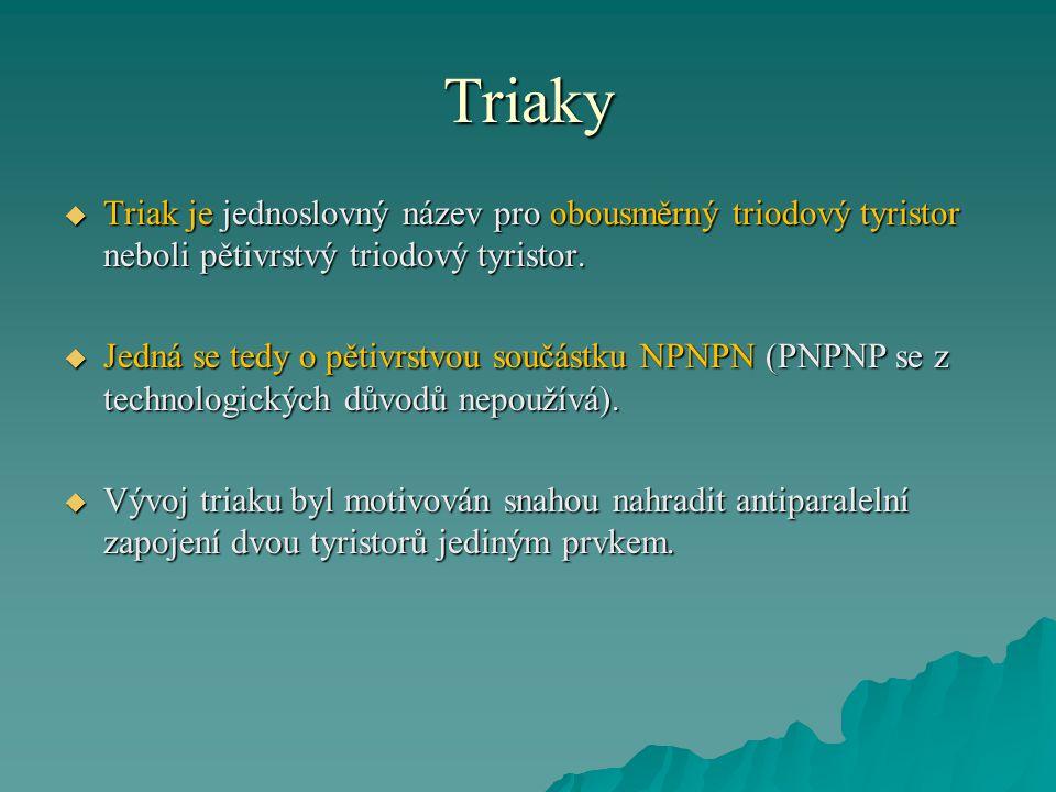 Triaky  Triak je jednoslovný název pro obousměrný triodový tyristor neboli pětivrstvý triodový tyristor.  Jedná se tedy o pětivrstvou součástku NPNP
