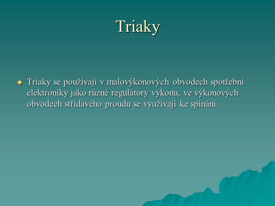 Triaky  Triaky se používají v malovýkonových obvodech spotřební elektroniky jako různé regulátory výkonu, ve výkonových obvodech střídavého proudu se