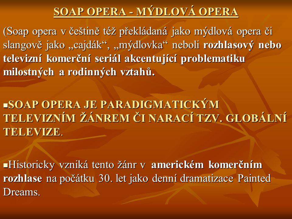 """SOAP OPERA - MÝDLOVÁ OPERA (Soap opera v češtině též překládaná jako mýdlová opera či slangově jako """"cajdák"""", """"mýdlovka"""" neboli rozhlasový nebo televi"""