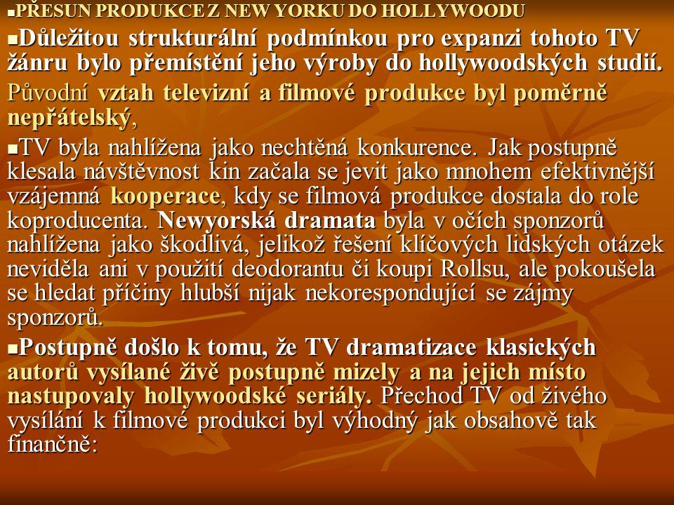 PŘESUN PRODUKCE Z NEW YORKU DO HOLLYWOODU PŘESUN PRODUKCE Z NEW YORKU DO HOLLYWOODU Důležitou strukturální podmínkou pro expanzi tohoto TV žánru bylo