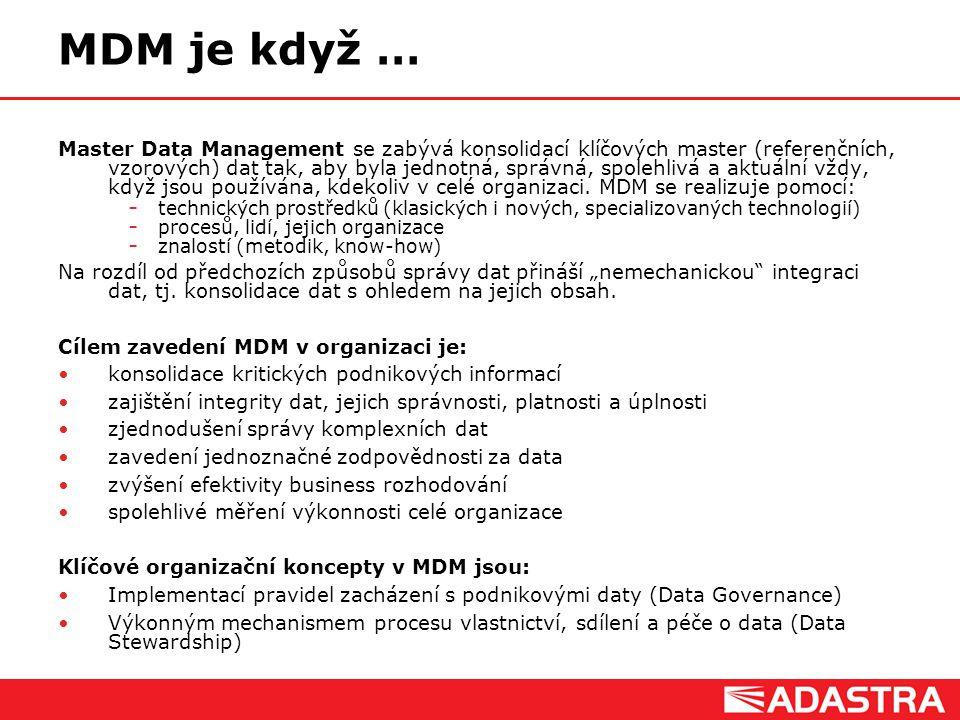 Customer Intelligence Solutions MDM je když … Master Data Management se zabývá konsolidací klíčových master (referenčních, vzorových) dat tak, aby byl
