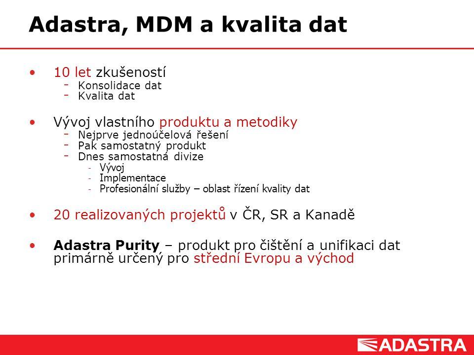 Customer Intelligence Solutions Adastra, MDM a kvalita dat 10 let zkušeností  Konsolidace dat  Kvalita dat Vývoj vlastního produktu a metodiky  Nej