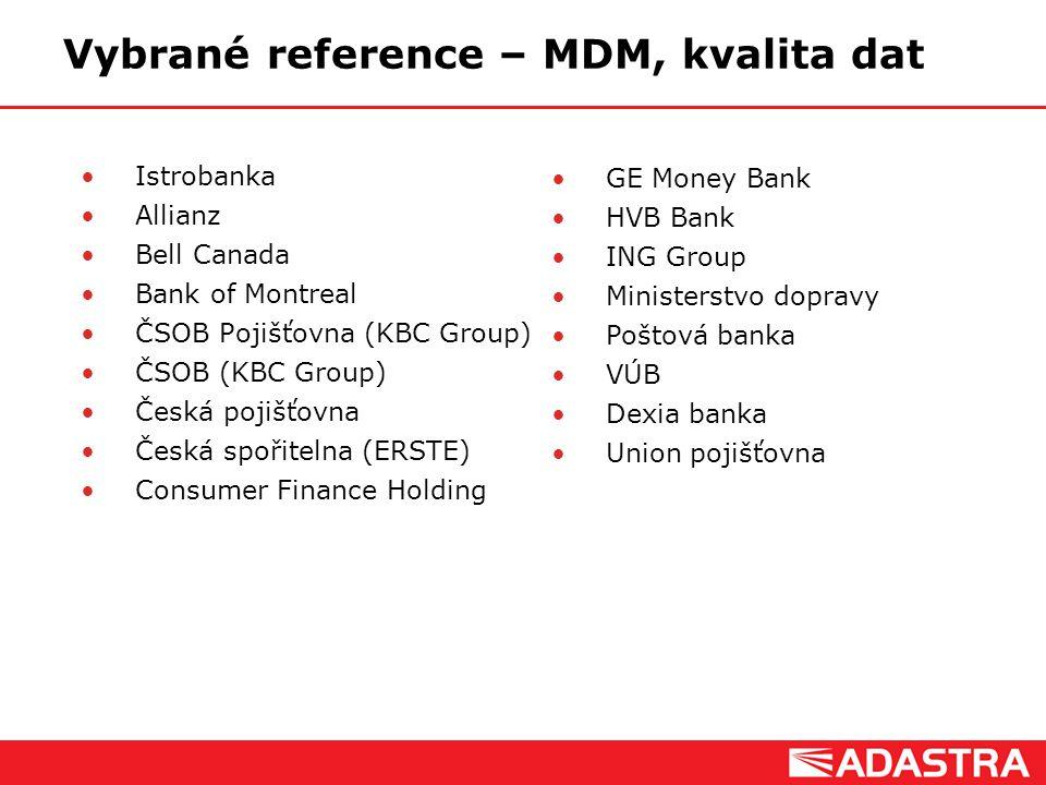 Customer Intelligence Solutions Vybrané reference – MDM, kvalita dat Istrobanka Allianz Bell Canada Bank of Montreal ČSOB Pojišťovna (KBC Group) ČSOB