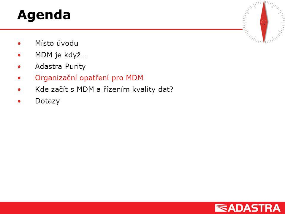 Customer Intelligence Solutions Agenda Místo úvodu MDM je když… Adastra Purity Organizační opatření pro MDM Kde začít s MDM a řízením kvality dat? Dot