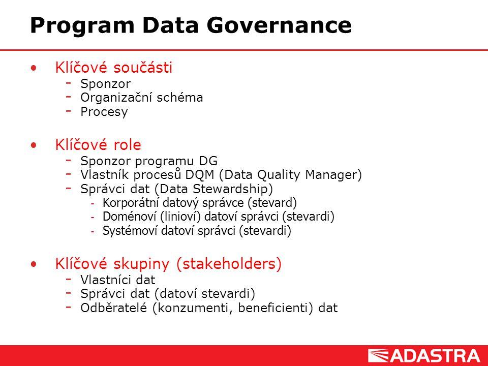 Customer Intelligence Solutions Program Data Governance Klíčové součásti  Sponzor  Organizační schéma  Procesy Klíčové role  Sponzor programu DG 