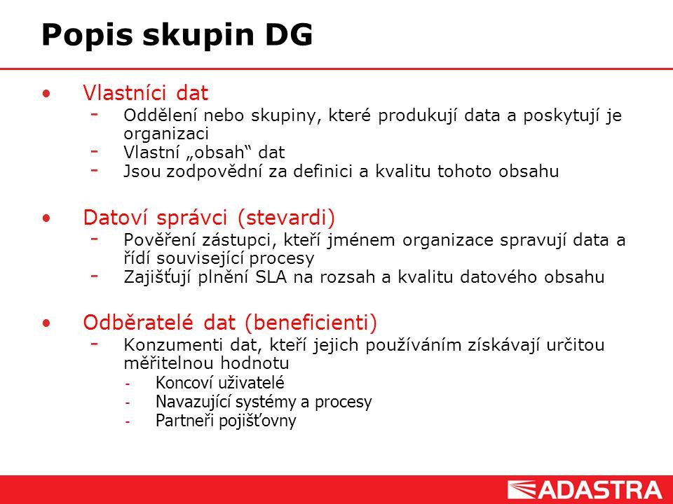 """Customer Intelligence Solutions Popis skupin DG Vlastníci dat  Oddělení nebo skupiny, které produkují data a poskytují je organizaci  Vlastní """"obsah"""