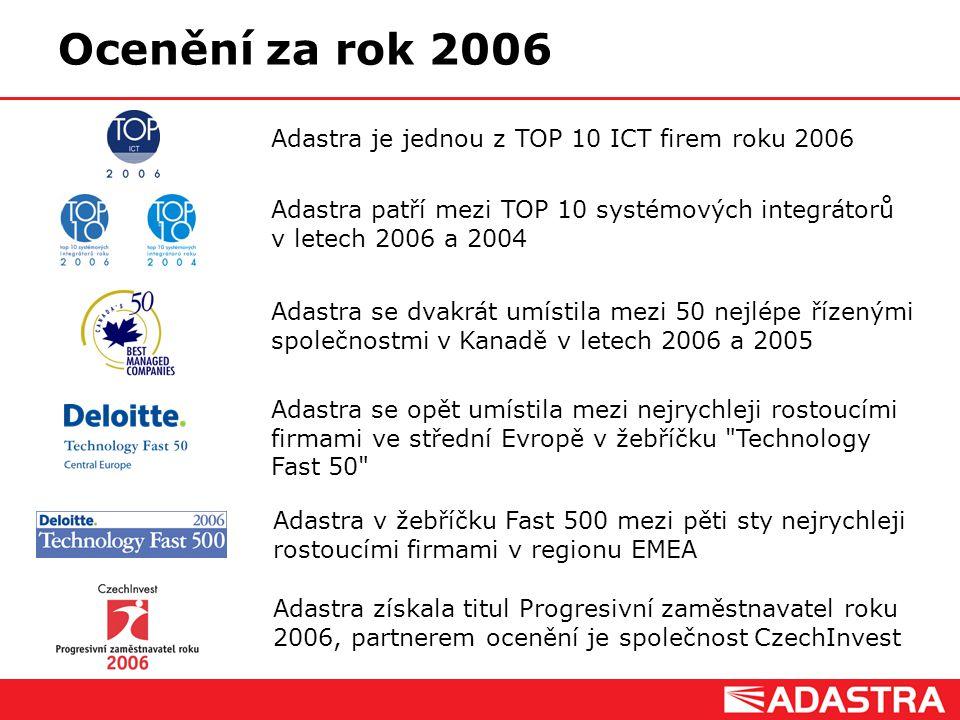 Customer Intelligence Solutions Ocenění za rok 2006 Adastra patří mezi TOP 10 systémových integrátorů v letech 2006 a 2004 Adastra se dvakrát umístila