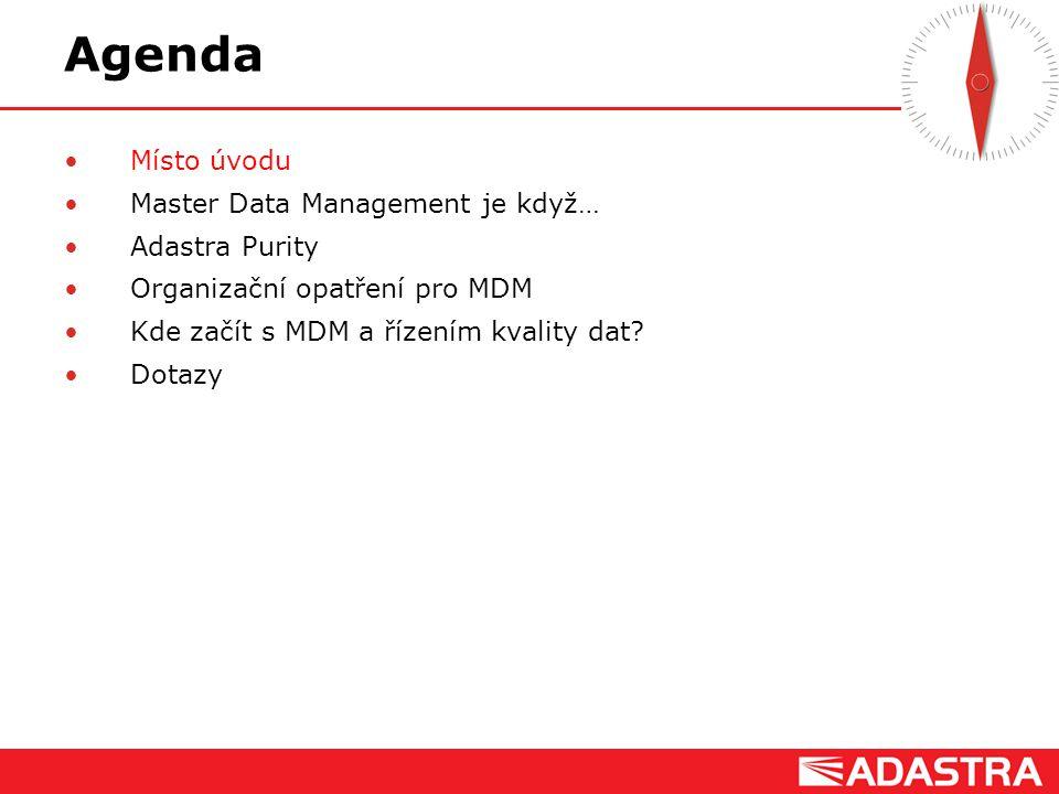 Customer Intelligence Solutions Agenda Místo úvodu Master Data Management je když… Adastra Purity Organizační opatření pro MDM Kde začít s MDM a řízen