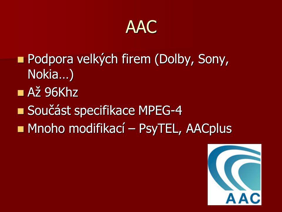 AAC Podpora velkých firem (Dolby, Sony, Nokia…) Podpora velkých firem (Dolby, Sony, Nokia…) Až 96Khz Až 96Khz Součást specifikace MPEG-4 Součást specifikace MPEG-4 Mnoho modifikací – PsyTEL, AACplus Mnoho modifikací – PsyTEL, AACplus