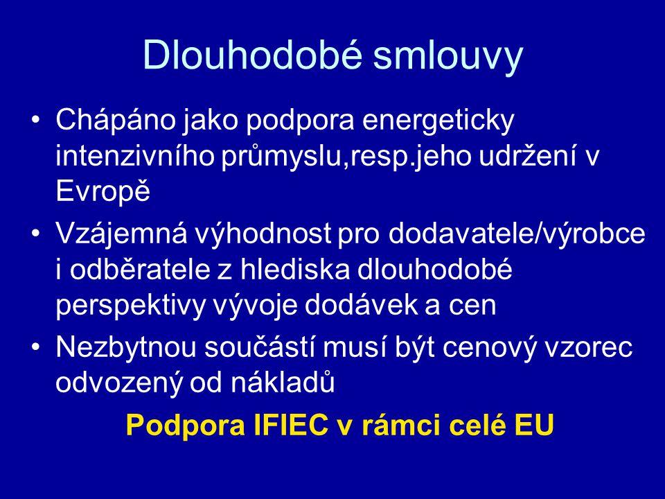 Dlouhodobé smlouvy Chápáno jako podpora energeticky intenzivního průmyslu,resp.jeho udržení v Evropě Vzájemná výhodnost pro dodavatele/výrobce i odběratele z hlediska dlouhodobé perspektivy vývoje dodávek a cen Nezbytnou součástí musí být cenový vzorec odvozený od nákladů Podpora IFIEC v rámci celé EU