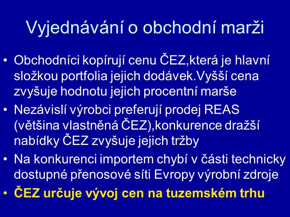 Vyjednávání o obchodní marži Obchodníci kopírují cenu ČEZ,která je hlavní složkou portfolia jejich dodávek.Vyšší cena zvyšuje hodnotu jejich procentní marše Nezávislí výrobci preferují prodej REAS (většina vlastněná ČEZ),konkurence dražší nabídky ČEZ zvyšuje jejich tržby Na konkurenci importem chybí v části technicky dostupné přenosové síti Evropy výrobní zdroje ČEZ určuje vývoj cen na tuzemském trhu