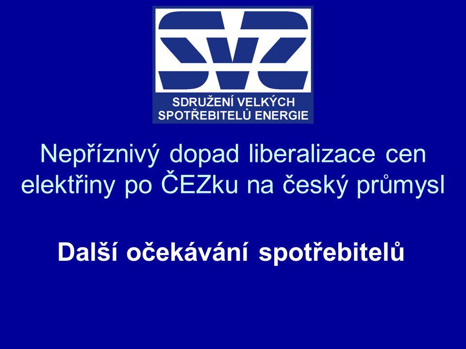 Nepříznivý dopad liberalizace cen elektřiny po ČEZku na český průmysl Další očekávání spotřebitelů