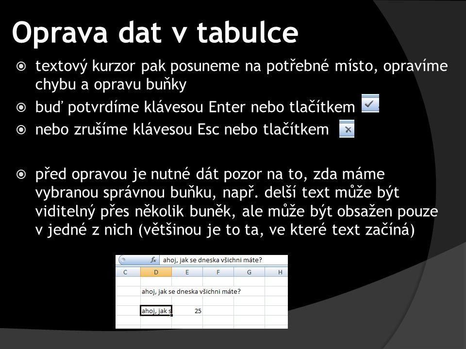 Oprava dat v tabulce  textový kurzor pak posuneme na potřebné místo, opravíme chybu a opravu buňky  buď potvrdíme klávesou Enter nebo tlačítkem  ne