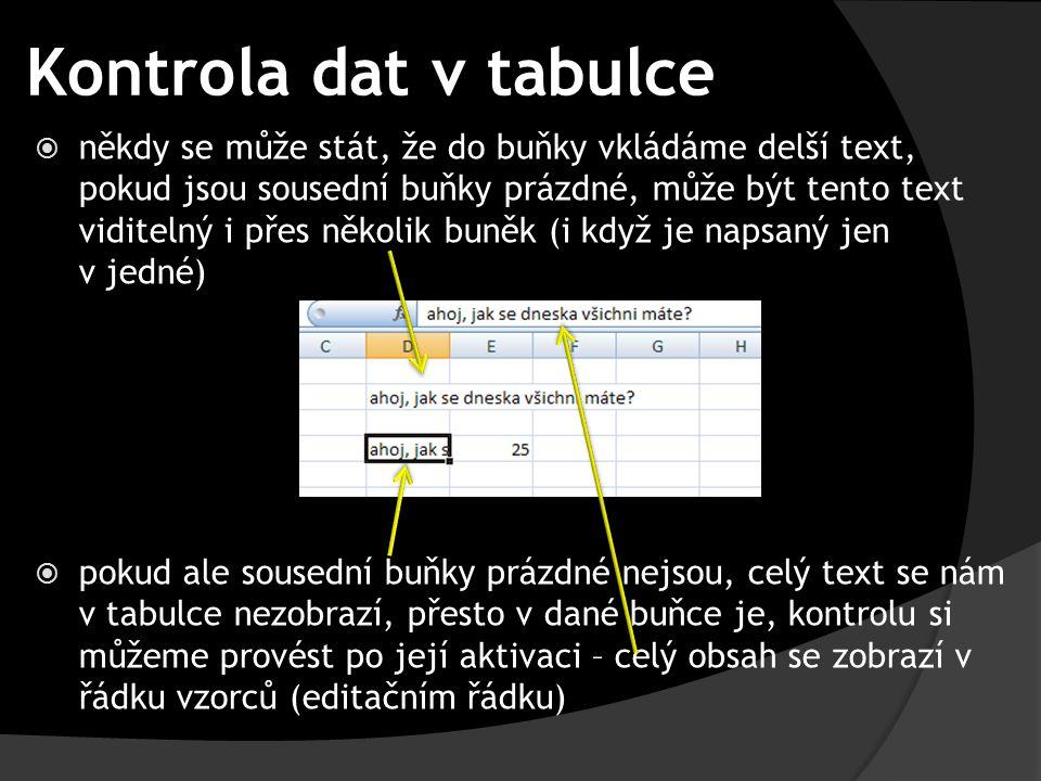 Kontrola dat v tabulce  někdy se může stát, že do buňky vkládáme delší text, pokud jsou sousední buňky prázdné, může být tento text viditelný i přes