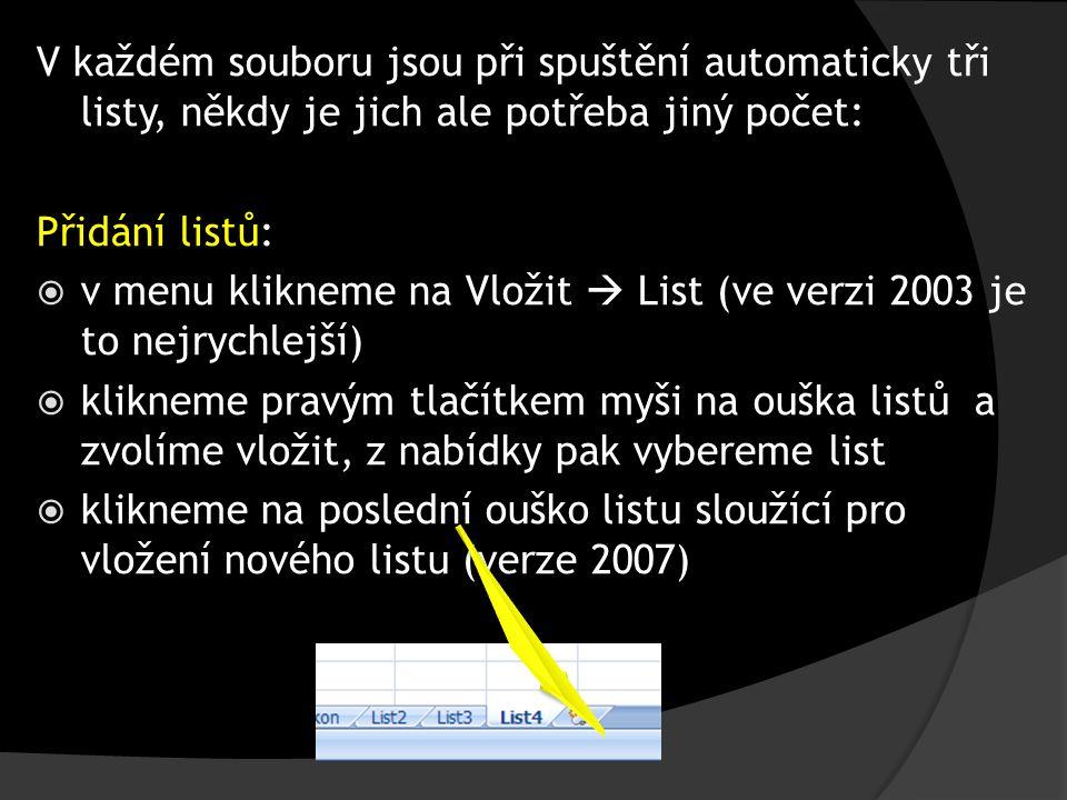 V každém souboru jsou při spuštění automaticky tři listy, někdy je jich ale potřeba jiný počet: Přidání listů:  v menu klikneme na Vložit  List (ve